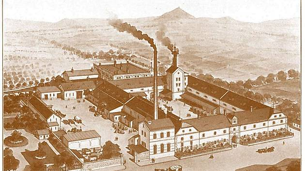 Českolipský pivovar vyobrazený grafikem Antonínem Ulbrichem v roce 1905