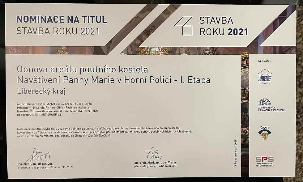 Poutní kostel v Horní Polici na Českolipsku získal v Praze nominaci na ocenění Stavba roku 2021.