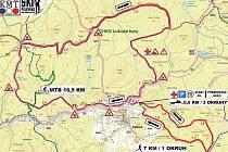 Mapa a trasy letošního Kytlického minitriatlonu.