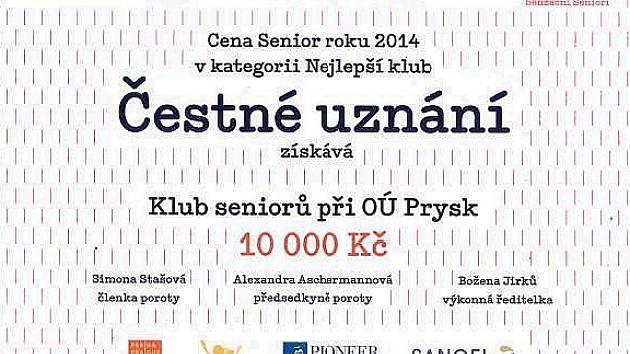 Klub seniorů v Prysku získal čestné uznání poroty.