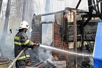 Požár chatky v Pertolticích