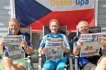 Na Mistrovství Evropy ve Švédsku veteránů reprezentovali českolipský okres (zleva) Ladislav Krsek, Karel Pácal, František Just.