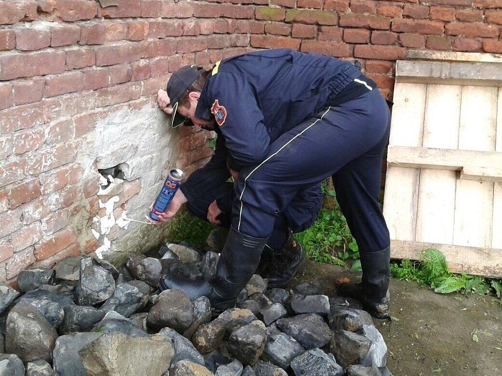 Se zpevněním hradeb a stavbou provizorních zábran pomáhali před příchodem povodňové vlny dobrovolní hasiči ze Zákup v Terezíně.