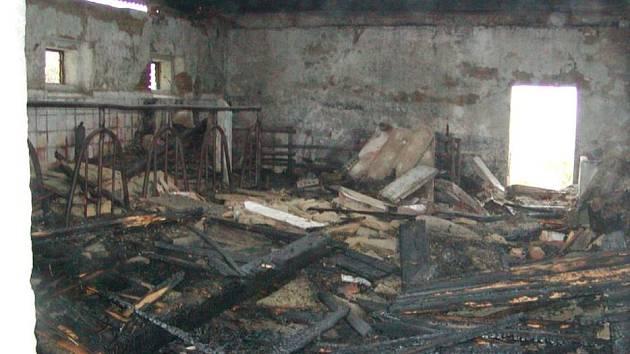 Požár způsobil na stáji škodu za 100 tisíc korun.