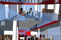 Návrh vnitřní dispozice vestavby knihovny.
