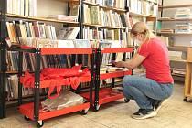 Helena Brázdová připravuje knihy na rozvoz čtenářům z řad seniorů.
