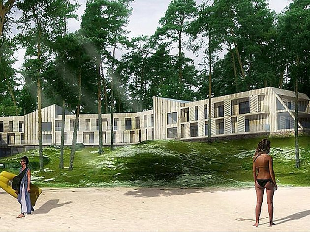 Podle studie by mohl budoucí hotel na pláži u Máchova jezera ve Starých Splavech vypadat i takto.