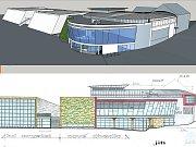 NAHOŘE: Vizualizace celkové prostorové dispozice divadla na místě nynější proluky. DOLE: Nákres jižní strany projektu Miroslava Pavljuka ukazuje napojení na KD Crystal.