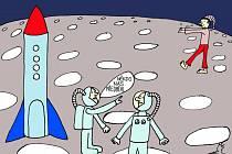 Vernisáž výstavy kreslených vtipů Petra Dudka.