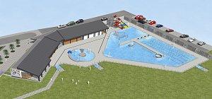 Vizualizace venkovního bazénu v České Lípě