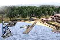 """Přibližně takto by mohlo vypadat již brzy pobřeží ve Starých Splavech. """"Jedná se o vizualizaci z první fáze projektové přípravy a konečná podoba projektu je v některých částech odlišná,"""" uvádí Jakub Derynk, projektový manažer města Doksy."""