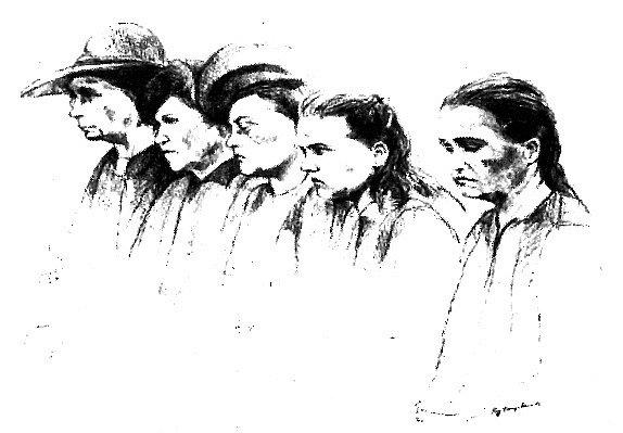 Kresba pětice žen vznikla před několika lety podle fotografie pořízené krátce po válce během první lidické tryzny.
