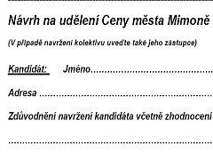 Kandidáty na cenu města mohli navrhovat sami občané pomocí formuláře.