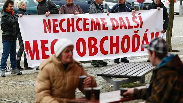 Protestní akce proti novému územnímu plánu ze začátku března.