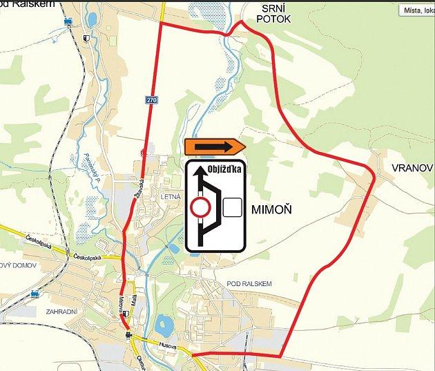 Objízdná trasa pro osobní auta je naplánovaná přes Srní potok a Vranov do Mimoně. Objížďka bude trvat několik měsíců kvůli opravě mostu ukina a Husovy ulice.