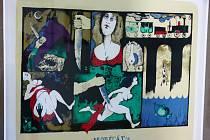 Jiří Suchý, původním povoláním grafik, v těchto dnech vystavuje litografie v Městském muzeu v Mimoni.