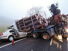 V pondělí ráno došlo k tragické nehodě na komunikaci mezi Jestřebím a Zahrádkami, kde se střetl tahač plně naložený dřevem s osobním automobilem Škoda Octavia.