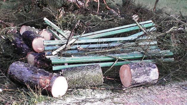 Stromy padaly i na hlavní pláži v Doksech.