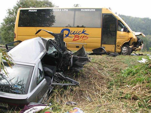Tragická dopravní nehoda u obce Dubá Zakší na Českolipsku