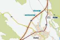 Severozápadně od města povede obchvat Dubé. Úplně se vyhne údolí, ve kterém město leží.