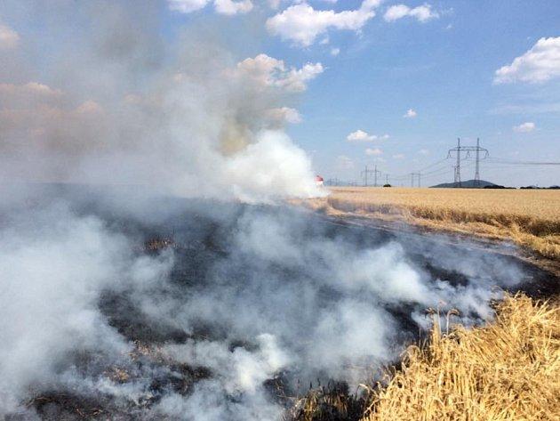 Páteční požár pole spšenicí vKamenici uZákup likvidovalo šest hasičských jednotek. Škoda je 160tisíc korun.