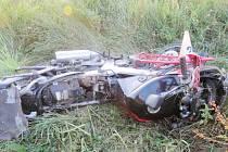 Motocykl po nehodě.