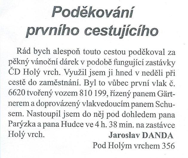 Poděkování vMěstských novinách zúnora 2003.
