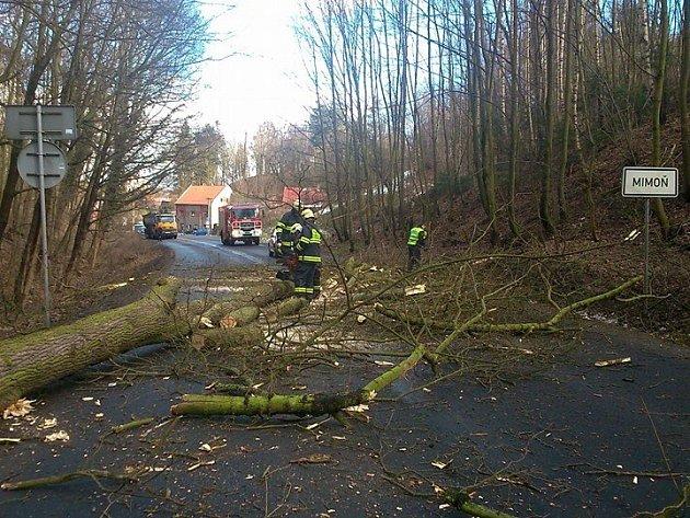 Spadlé stromy zatarasily cestu uMimoně.