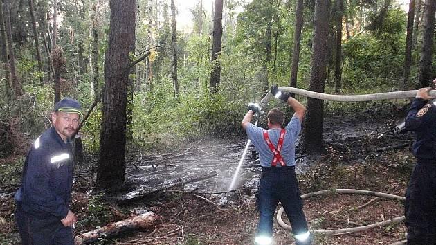 Na počátku září vyjížděla zásahová jednotka dobrovolnách hasičů z Brniště k požáru lesa na kopci Tlustec.