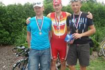 Bronzový tým MS Auto v časovce Giro de Zavadilka, zleva : Petr Nováček, Josef Semerád a Rudolf Reichelt.