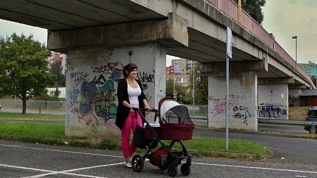 Asi 180 metrů dlouá pěší lávka mezi sídlištěm Špičák a školami na ulici 28. října.