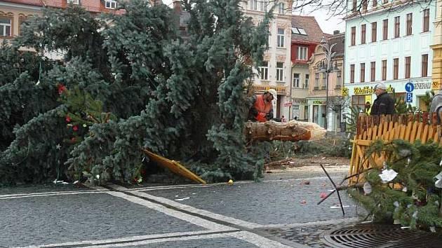 Na českolipském náměstí spadl velký vánoční strom