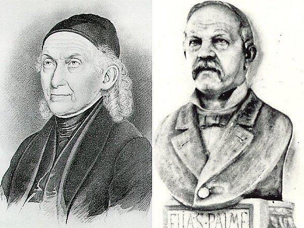 Muži, díky kterým se má Nový Bor a Kamenický Šenov za čím ohlížet a z čeho vycházet. Vlevo Friedrich Egermann (1777 1864), vpravo Elias Palme (1827 1893).