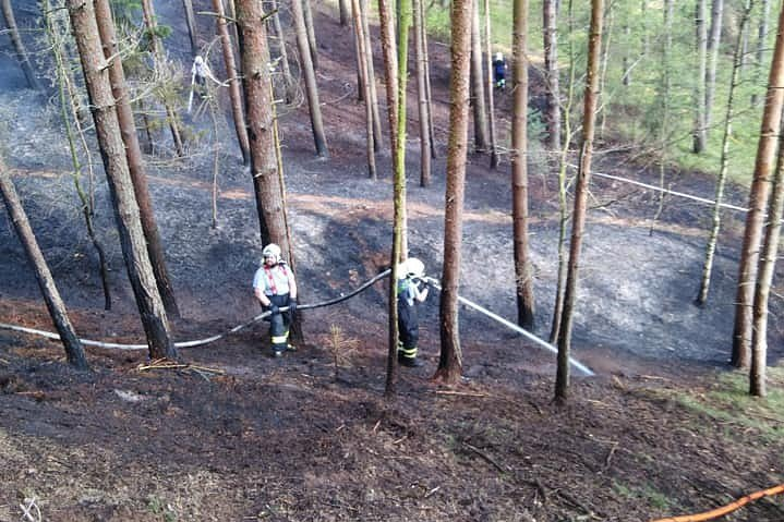 U Tuhaně hořel les.