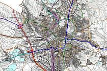 Jak by mohla v příštích letech vypadat doprava v České Lípě, včetně městského okruhu, podle nového územního plánu.