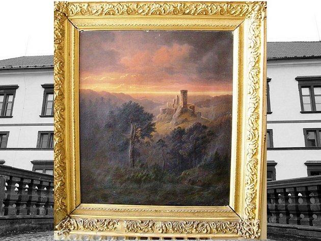 Romantický obraz hradu Libštejn od pražského malíře Aloise Wolfa z roku 1852 se vrátil na zákupský zámek.
