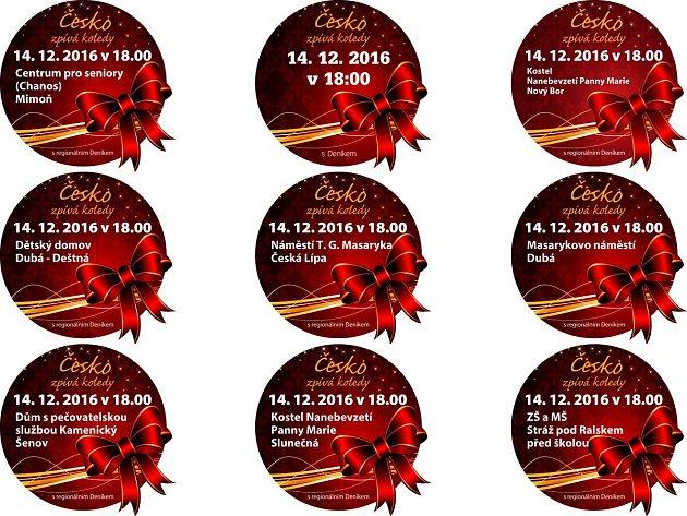 Akce Česko zpívá koledy vypukne ve středu 14.prosince v18.00na náměstí T. G. Masaryka vČeské Lípě a dalších sedmi místech na Českolipsku.