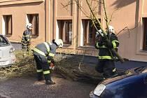 Vichr způsobil problémy i v České Lípě. Hasiči vyjížděli likvidovat stromy do Moskevské ulice nebo na náměstí Osvobození.