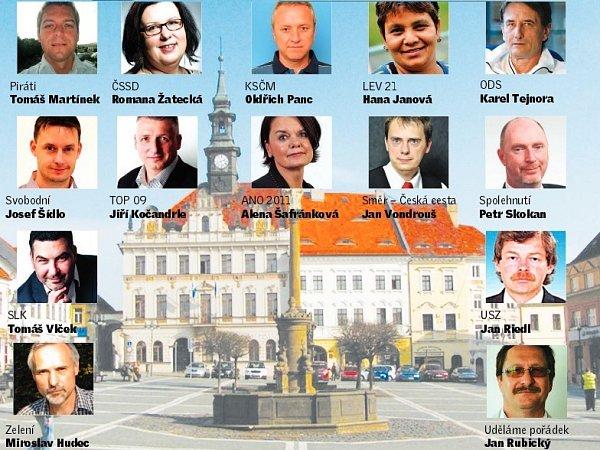 Přehled čtrnácti lídrů jednotlivých politických stran a hnutí, které a kteří budou letos vříjnu kandidovat vkomunálních volbách