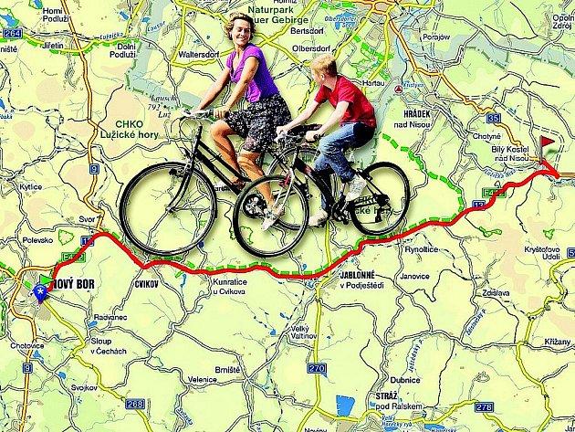 Nejen silnice I. třídy I/13 (červeně) bude do budoucna spojovat Nový Bor a Bílý kostel. Do pěti let by na trase měla vzniknout nová cyklostezka. Bude měřit 35 kilometrů a cyklisté po ní projedou například Cvikovem nebo Jablonným v Podještědí.