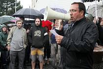Starosta Nového Boru Jaromír Dvořák při nedávné protestní akci.