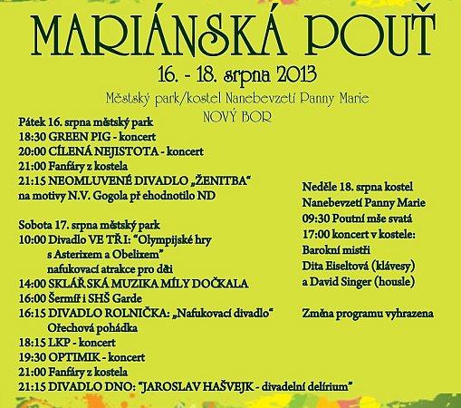 Program Mariánské pouti vNovém Boru.