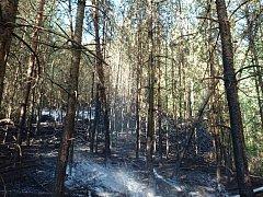 Podruhé během 24 hodin vyjížděli hasiči k požáru lesa u Stráže. S jedenácti cisternami požár likvidovali hasiči ze Stráže pod Ralskem, Mimoně a Jablonného v Podještědí.