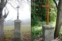 Opravené kříže mezi Kunraticemi a Dutým kamenem (vlevo) a v Novém Šidlově.