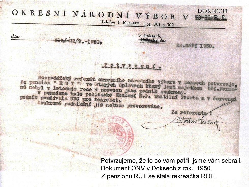 """Z knihy Miloše Formana """"Co já vím?"""". Dokument ONV v Doksech z roku 1950."""