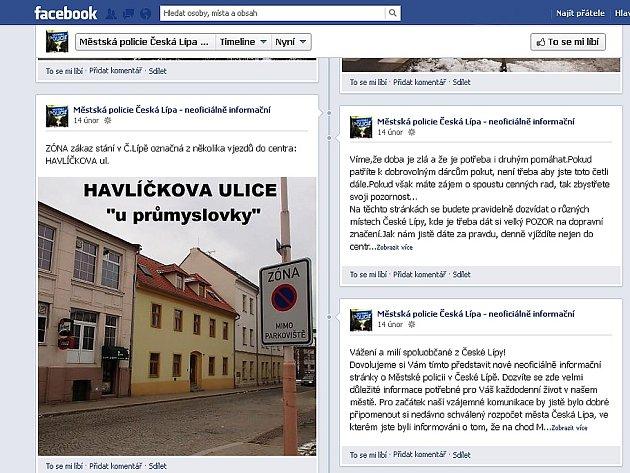 Městská policie v České Lípě má profil na sociální síti. Distancuje se od něj.