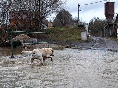 Voda už zaplavila některé zahrady a silnice v Dolní Libchavě.