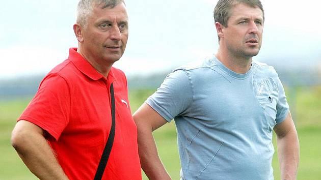 Sportovní ředitel českolipského Arsenalu Roman Hejna s trenérem Radimem Nečasem.