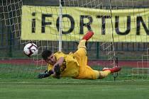 Gólman Plechatý vyráží jednu z penalt při rozstřelu.