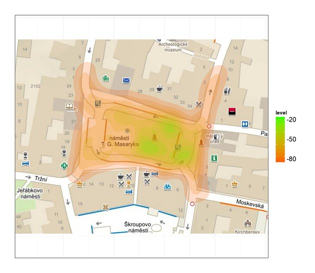 Mapka pokrytí bezplatnou wi fi na náměstí před radnicí vČeské Lípě